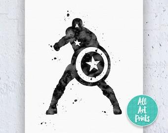 Captain America Poster Captain America Print Watercolor Printable Art Kids Poster Super Hero Avengers Print Instant Download Art