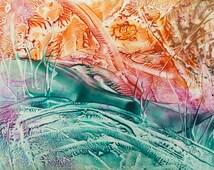 Encaustic 10, original, handmade wax painting, abstract on card
