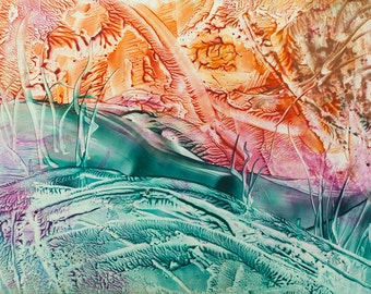 Encaustic 10, original, handmade wax painting, abstract on card