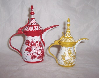 Dallah Coffee Pots Set of Two Hand Painted Floral Miniature Brass Dallah