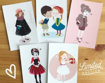 5 illustrated postcards - Set 2