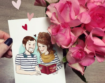 Couple portrait Commission - Illustrated print