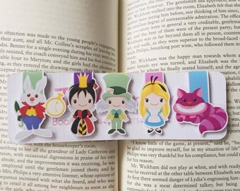 REDUCED TO CLEAR: Wonderland Magnetic Bookmarks || Set of Five