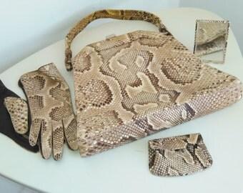 Vintage custom python snakeskin purse handbag wgloves coin purse & mirror
