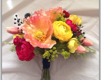 Yellow and coral bride bouquet. Wedding bouquet.