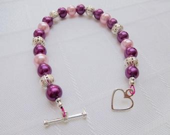 Pink, Purple & Silver Bracelet, Pearl Bracelet, Pink Jewellery, Purple Jewelry, Silver Heart Toggle Bracelet, Gift For Her, Valentine Gift