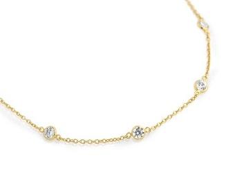 Multi Cz necklace. Sterling silver Cz necklace. Diamond necklace. Gold cz necklace. Silver jewelry. Necklaces.