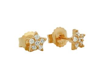 Sterling silver cz star stud earrings. Dainty star earrings. Tiny stud earrings. Rose gold star earrings. Gold star stud earrings.