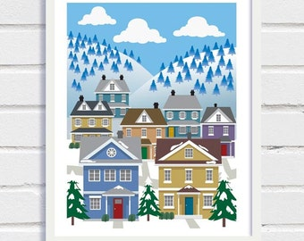 Naive Art, Naive Print, Winter Scene Poster, Printable Art, Printable Wall Art, Printable Holiday Gift, Colonial House, Colonial Print
