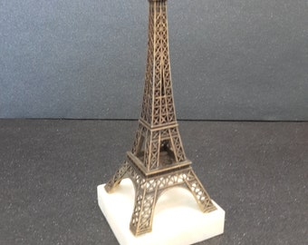 vintage french Eiffel Tower on marble base