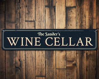 Family Wine Cellar Sign, Personalized Last Name Bar Sign, Custom Wine Lover Gift, Metal Wine Room Decor - Quality Aluminum ENS1001439