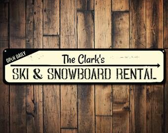 Ski & Snowboard Rental Sign, Personalized Open Daily Family Last Name Directional Arrow Metal Ski Lodge Decor - Quality Aluminum ENS1001552