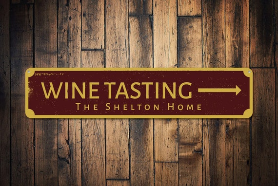 Wine Tasting Arrow Sign Personalized Family Name Decor Home