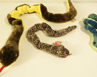 Set of 3 Retired Snake TY beanie babies, Slither, Zodiac, and Hissy the snakes