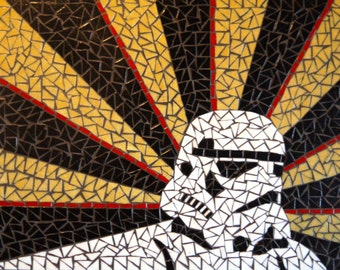 Imperial trooper - glass mosaic wall art / wall hanging