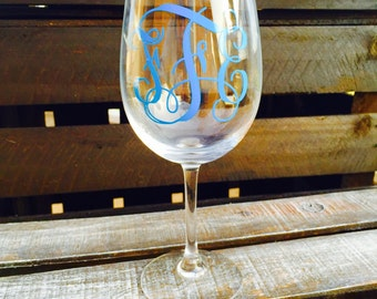 Custom monogrammed wine glass