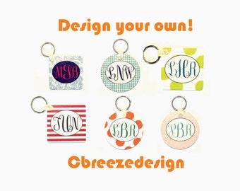 monogrammed key fob, custom keychain, key chain monogram, initial key fob, key tag monogram, custom monogram, chevron keychain, gift for her