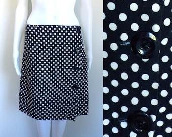 """40%OffJune23-26 80s polka dot skirt size large, 31"""" waist, navy blue white canvas wrap skirt, 1980s handmade skirt, mini skirt"""