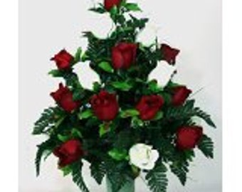 absolutely beautiful, Red And White Micro Peach Roses Cemetery Flowers for a 3 Inch Vase.