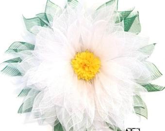 White Daisy Wreath, Deco Mesh Daisy Wreath, Large Daisy Wreath, Summer Wreath, Door Wreath, Everyday Wreath, Flower Wreath