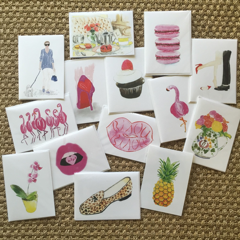 Cards birthday card fashion illustration pineapple pink flamingos