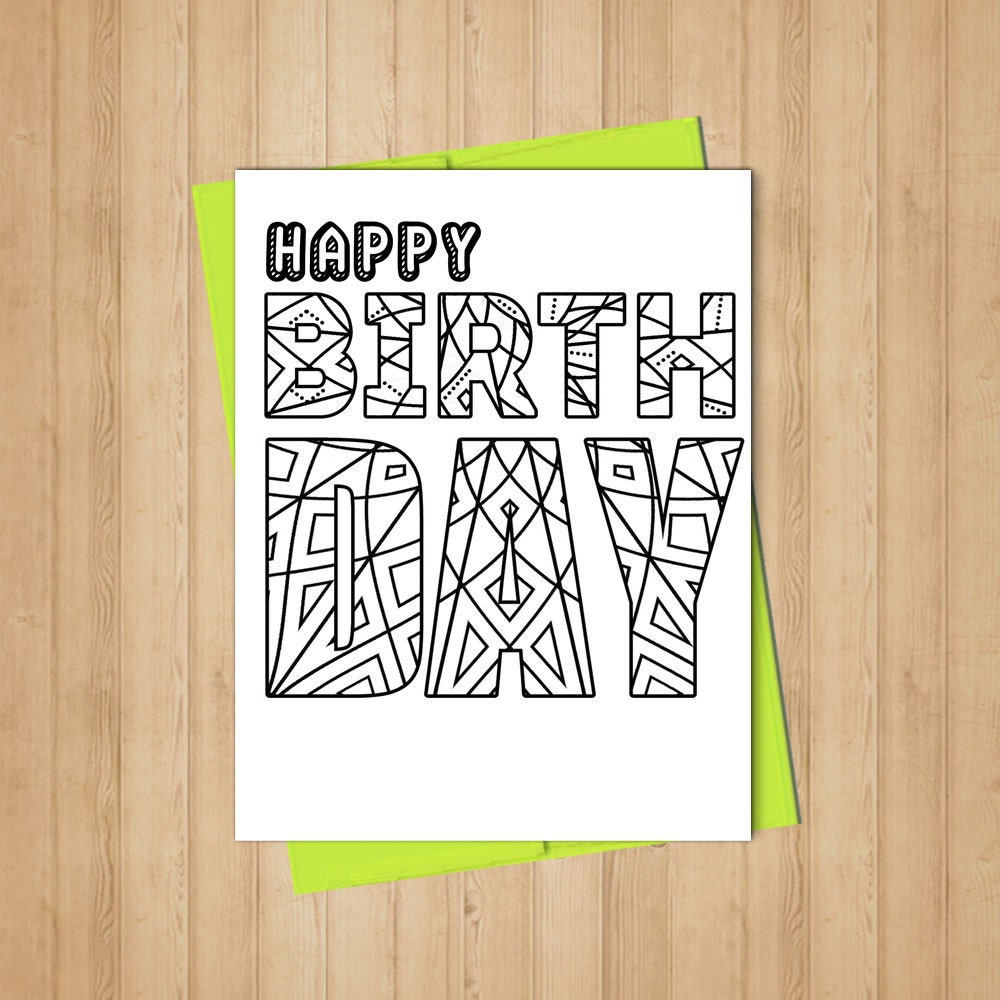 Happy Birthday Coloring Card Adult Coloring By DownloadDepot