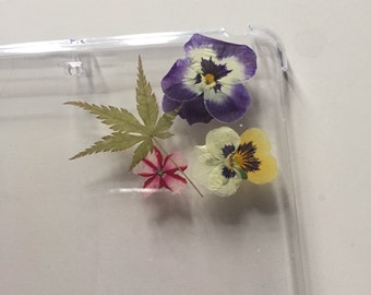 Handmade real pressed flower floral iPad mini case