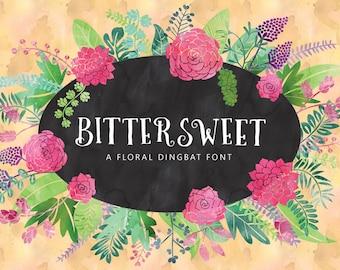 Bittersweet Floral Elements Editable Vector Clip art Font Download Personal Commercial Dingbat Font