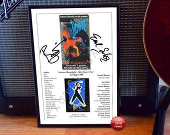 David Bowie Let's Dance 1983 Concert Ticket Autographed Signed Photo Print
