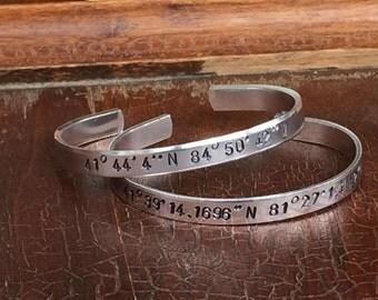 "Longitude Latitude Coordinates - Cuff Bracelet Set 1/4"" Adjustable Smooth Organic Texture Artisan Handmade Custom Jewelry"