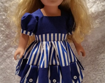 18 Inch Doll Dress Blue and White