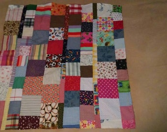 Handmade Child's Country Quilt - Multicolored - Square (Calico Reverse)