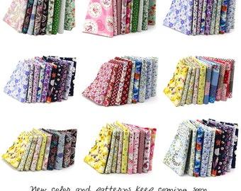 Different Pattern & Color 100% Cotton Poplin Fabric Fat Quarter Bundle 46 x 56cm Patchwork Quilting Fabric (SKU:CTJZ21-POFQ10)