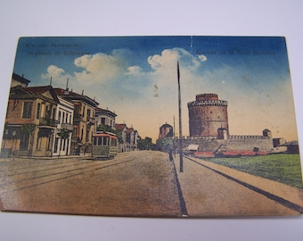 1910s postcard Thessaloniki, Greece - The White Tower avenue