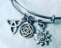 Celtic Charm Bracelet - Celtic Knot, Celtic Medallion, Celtic Sun