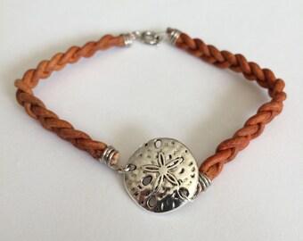 Hand Woven Leather Sand Dollar Bracelet