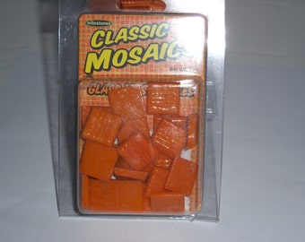 "Classic Mosaic Glass Tiles, 1"" square, 3oz, orange"