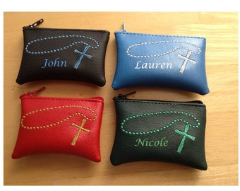 "Rosary bag wallet with beads & cross with your name 4"" x 2-3/4"" any color personalized embroidered religion religious"
