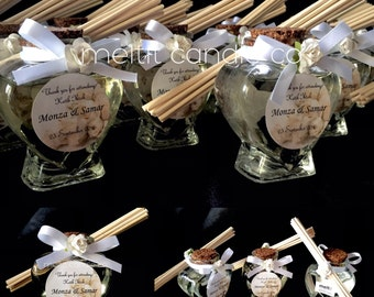 Mini heart glass bottle reed diffuser favors