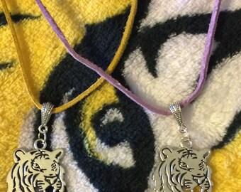 LSU Tiger/Tiger Suede Necklace