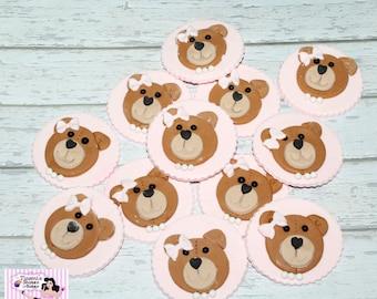 12x Edible Boy or Girl Teddy Bear Cupcake Toppers
