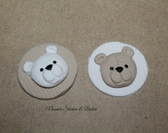 Edible Fondant Cupcake Topper Decorations 12x Teddy Bear Baby shower Birthday