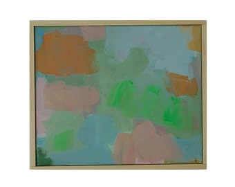 original acrylic painting in green orange, wallart, modern painting