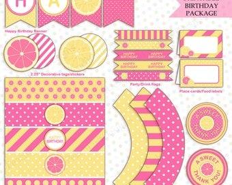 Pink lemonade birthday package (INSTANT DOWNLOAD) - Lemonade party decorations - Pink lemonade party -  Printable party package BI003