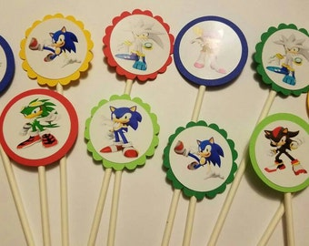 Sonic 10 cupcake toppers. ** free Shipping**