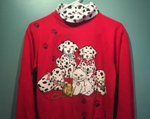 90s Dalmation puppy and kitten pullover sweatshirt with mock turtleneck