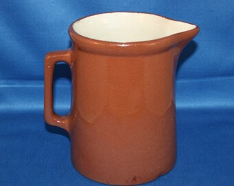 Vintage Rough Brown Glazed Rustic Pitcher