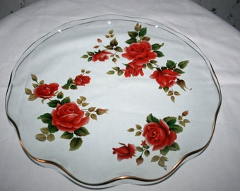 Vintage Glass Rose Plate Ruffled Dish with Red Roses on Clear Glass with Gold Trim Dinner Plate Serving Plate Cake Plate Sandwich Tray