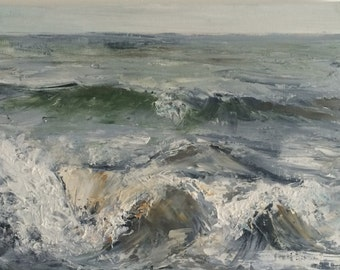 Waves, original oil painting