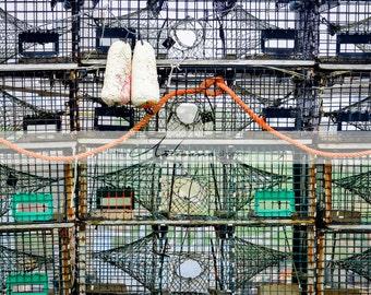 Lobster Traps - Nautical Printable Art - Digital Download - Canadian Maritime - Coastal Lobster Fishing - Instant Art - Atlantic Canada